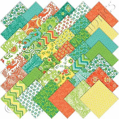 "Moda Folklore Charm Packs 42 5"" Precut Cotton Quilt Quilting Fabric Squares Kit"