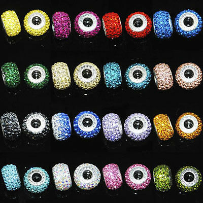 5Pcs Crystal Rhinestone Gems 5mm Big Hole Pandora Charm European Bead 10x15mm