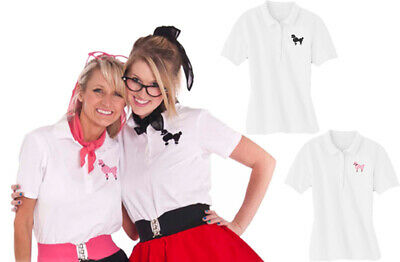Hip Hop 50s Shop Womens Polo Shirt with Poodle for Halloween or Dance Costume