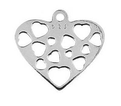 One Sterling Silver 925 Heart Charm / Pendant, 12 Mm