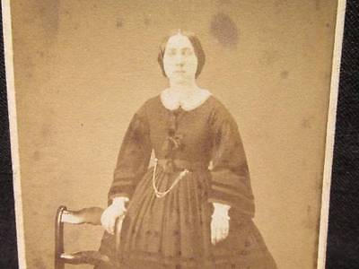 E R Fenno Cuba NY Antique CDV Standing woman with hoop skirt & long chain