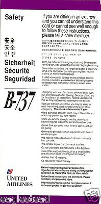 Safety Card - United - B737 - 1992 - Two Name Version  (SC612)