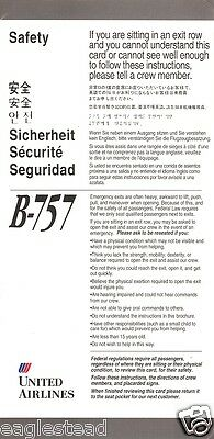 Safety Card - United - B757 - 1992  (S1058)