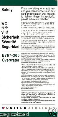 Safety Card - United - B767 300 - Overwater - 1999  (S1063)