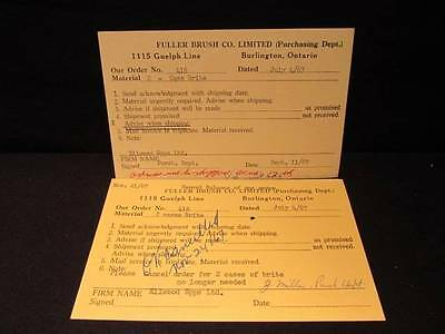 Fuller Brush Co Ltd Purchasing Dept July 1967 Order & Cancellation 2 Cards