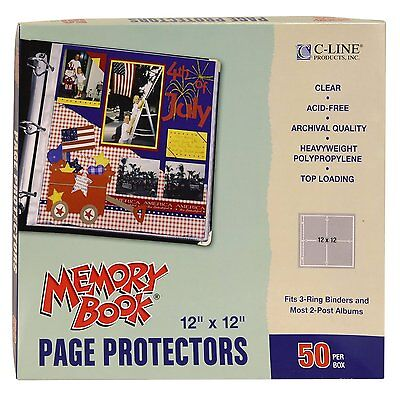 C-Line Memory Book 12 x 12 Inch Scrapbook Page Protectors, Clear Poly, Top Load,