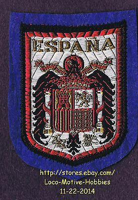 LMH PATCH Felt Woven Badge ESPANA Spain Spanish COAT ARMS Eagle Lion Castle blue