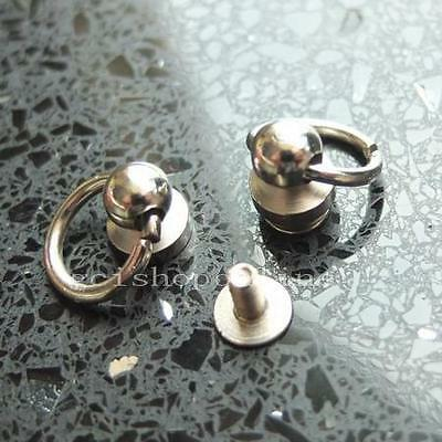 "5 pcs Head Button Studs Screwback Leather bag spot O ring 6mm 1/4"" Brass Si"