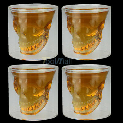 4 x Crystal Skull Head Vodka Shot Whiskey Home Wine Beer Tea Glass Drinking Cup