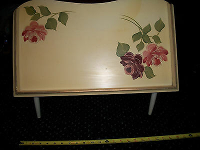 VNTG. FOOTED FOLDING BED SERVING TRAY / WRITING TRAY HAND PAINTED ROSES- STOBER?