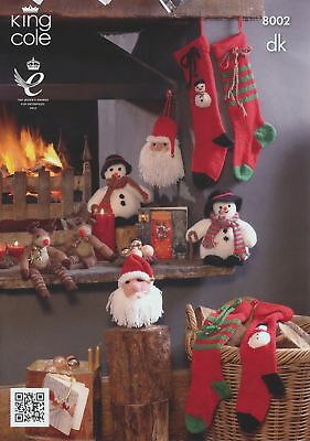 DK Knitting Pattern King Cole Christmas Rudolph Snowman Santa & Stockings 8002