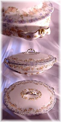 ANTIQUE HAVILAND LIMOGES FRANCE OVAL TUREEN PINK BLUE FLORAL GOLD BOW HANDLES