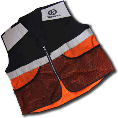 Respro Hi-Viz Reflective Super Bib Vest Waistcoat Bike Cycle Black/Orange Large