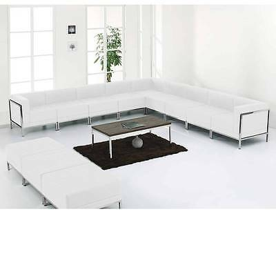 Hercules Imagination Series White Leather Sectional & Ottoman Set,12 Pieces