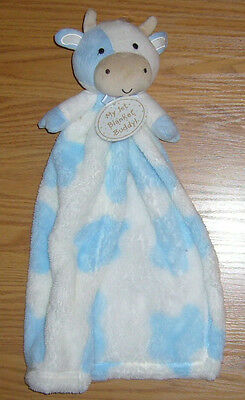 1st Blanket Buddy Boys COW Security Infant Baby Lovey Plush Blue White NEW Moo