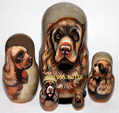 Sussex Spaniel on Five Russian Nesting Dolls. #2.  Dogs