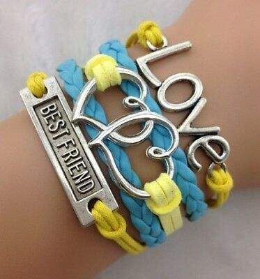 NEW Hot Retro Infinity LOVE Heart  Leather Charm Bracelet plated Silver HOT