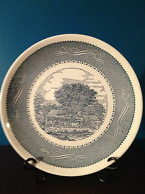 """Taylor, Smith & Taylor Currier & Ives Blue 10-3/8"""" Dinner Plates (2)"""