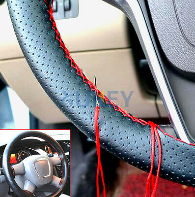 1Pc Car Van Faux Leather Steering Wheel Cover  DIY Thread Needle Hand Sewing Sew