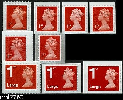 MA12 or M12L RED 1st Class + 1st Large MACHINS Various Source Code SINGLE STAMPS
