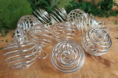 10 x Silver Plated Large Spiral Cages for Crystals and Gemstones