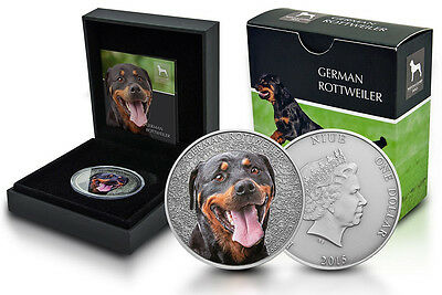 Niue 1 Oz Silber German Rottweiler Farbe 2015 Etui *Watch and Guard Dogs Serie*