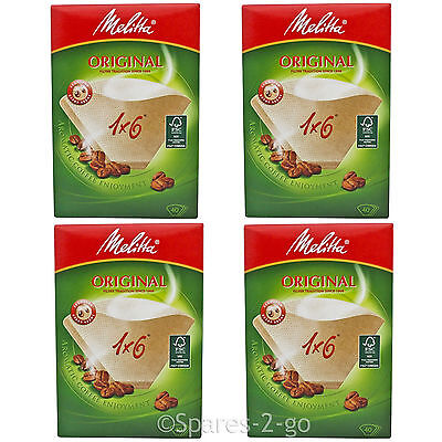Genuine Original MELITTA 1 x 6 Filters Paper Coffee Machine Brown Filter 40 x 4