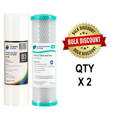2 Set Replacement Undersink Water Filter Cartridges Coconut Carbon Sed2-0 4-6CTO