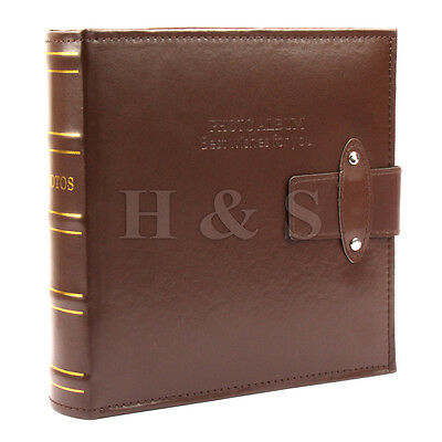 "6x4"" 200 Photos Large PU Leather Slip in Photo Album Brown Vintage Memo Book --A"