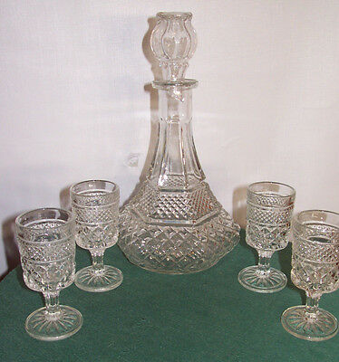 WEXFORD - CLEAR SHIPS DECANTER AND (4) WINES BY ANCHOR HOCKING - CRYSTAL