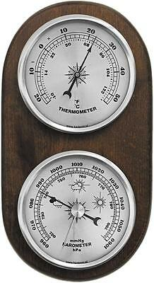 Weather Station Barometer Thermometer Quality Instrument Silver Coloured Dials