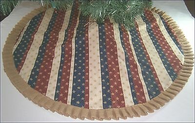 "Patriotic/ Fourth of July Tree Skirt ~ 45"" Stripes, Gold Stars, & Burlap Ruffle"