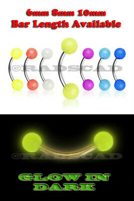 7x GLOW IN THE DARK eyebrow bar 6mm 8mm 10mm ring stainless steel piercing C14