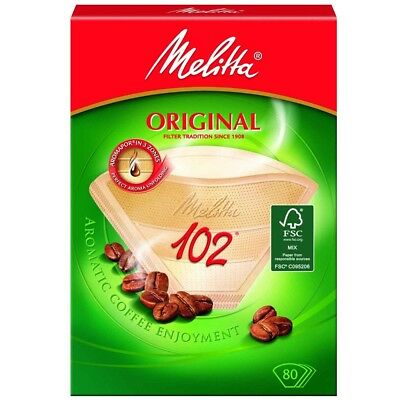 Genuine MELITTA 102 Paper Filters Coffee Machine Brown Filter Box 80