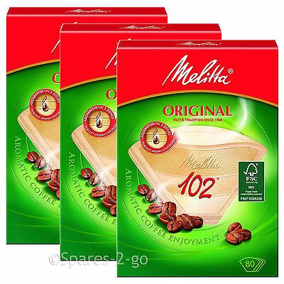 Genuine Original MELITTA 102 Paper Filters Coffee Machine Brown Filter Box x 3