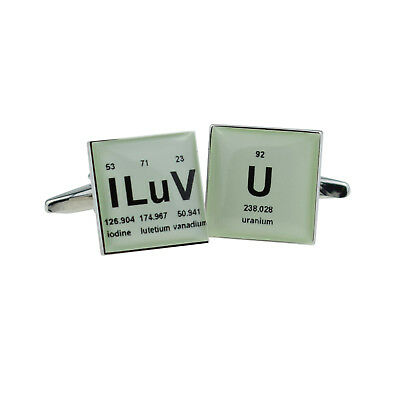 Retro Periodic Table I Luv U Design Cufflinks - X2BOCS155