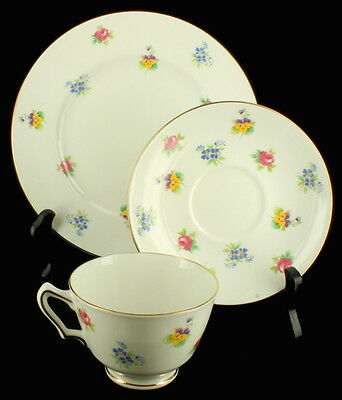 Vintage Crown Staffordshire Floral Bouquet 3 Piece Luncheon Set Bone China