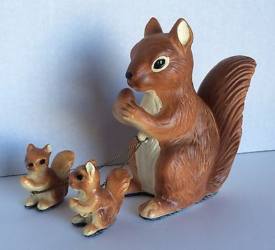 Vintage 1950s Mother Squirrel and Babies on Chain Figurine Set