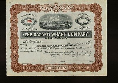 THE HAZARD WHARF COMPANY OF BALTIMORE CITY MARYLAND dd 19xx not issued