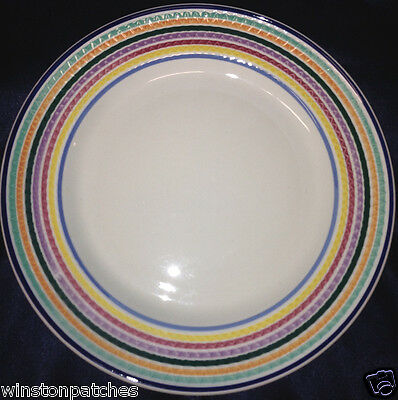 """PIER 1 ITALY PER6 DINNER PLATE 10"""" RAISED RIM WITH 8 COLORS IN BANDS"""