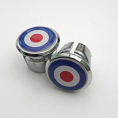 Retro Style Great Britain Roundel Chrome Racing Bar Plugs, Caps, Repro