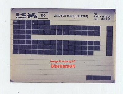Kawasaki VN800-C1 Drifter (1999) Parts Catalogue/List Microfiche VN 800 C