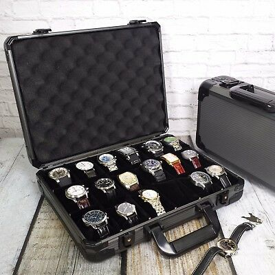 Watch Case Aluminum Briefcase for 18 Large Watches Gunmetal