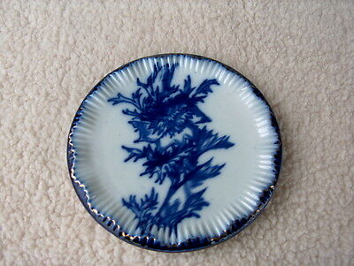 DECORATIVE FLOW BLUE PLATE FLORAL W/DAMAGE' SEE DETAILED DESCRIPTION IN LISTING