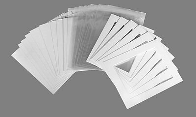 Picture mount Kits 20 A4 Mounts,backs,bags Ice White (Off White) Texture