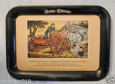 Old Crow Bourbon Whiskey Advertising James Crow's Metal Serving Tray Vintage