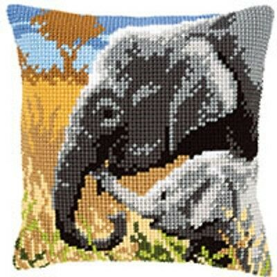 Elephants - Large Holed Tapestry Cushion Kit/Printed Chunky Cross Stitch