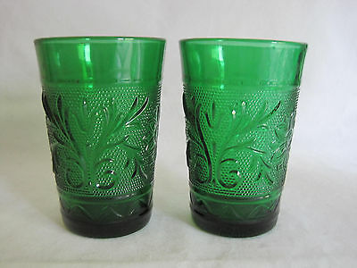 2 Anchor Hocking Sandwich Daisy Forest Green Juice Glasses Tumblers