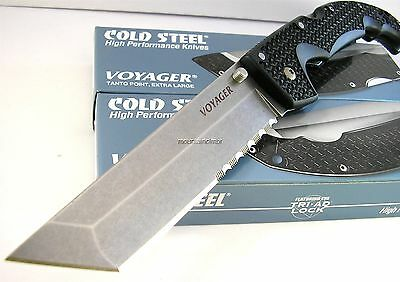 Cold Steel Extra Large Voyager Tanto AUS-8A Part Serr Edge 50/50 Knife 29TXTH