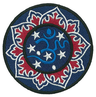 Patche écusson OM AUM OHM BLEU thermocollant applique patch DIY brodé